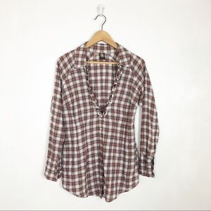 Free People plaid popover mock button down top